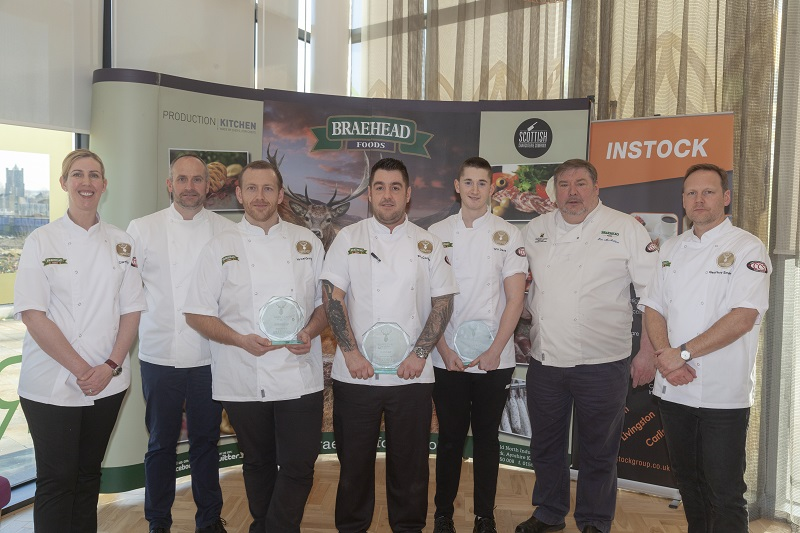 Winner and Runners Up with Judges Clare Smyth, Stephen McLaughlin, Ian McAndrew and Geoffrey Smeddle LR